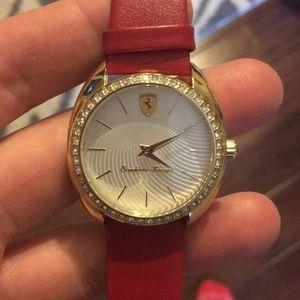 Brand new! Red leather Ferrari watch